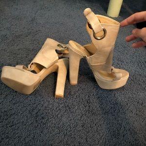 Tan paper fox heels